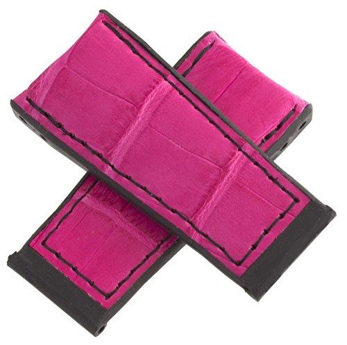 Corum authentisches Pink Schwarz Leder Uhrenarmband 24mm 1021