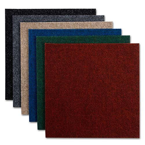 Dalles moquette casa pura Merci | lot de 1m², 3m² + 5m² - 5 coloris | autocollant et résistant | feutre aiguilleté amortissant | 50x50cm | noir, 1m² (4 pièces)