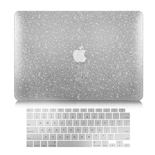TOP CASE - Bling Hard Case + Keyboard Cover für MacBook Air 13 Zoll mit Retina Display passend für Touch ID Modell: A1932 - Silver Sparkling Bling Hard Case Cover