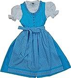 Knuffiges Kinderdirndl KIKI Baumwolle 3tlg. Komplett-Set in verschiedenen Ausführungen, Farben:türkis;Größen:146