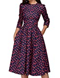 JOJJJOJ Abito da Donna Vintage Anni '50 con Abiti da Cocktail, Abiti Vintage retrò, Elegante Abito da Sera a Mezza Manica 3/4 (Colore : Red, Size : M)