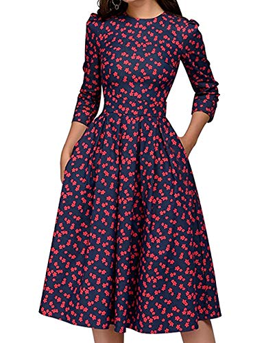 JOJJJOJ Damen 50er Jahre Floral Cocktail Vintage Retro Kleider Elegantes Midikleid 3/4 Ärmel (Farbe : RED, Size : XL)