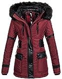 Navahoo Damen Designer Winter Jacke Warmer Mantel lang Parka gefüttert B304 [B304-Suri-Bordeaux -Gr.XS]