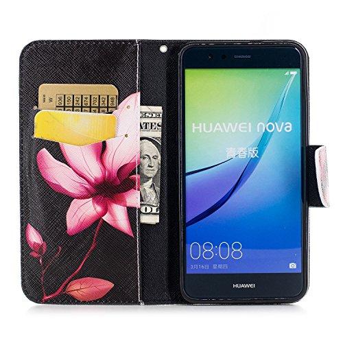 Huawei P10 Lite (5.2 pouce) Coque , PU Cuir Étui Protection Wallet Housse la Haute Qualité Pochette Anti-rayures Couverture Bumper Magnétique Antichoc Case Anfire Cover pour Huawei WAS-LX1/LX1A - Pand Rouge Lotus