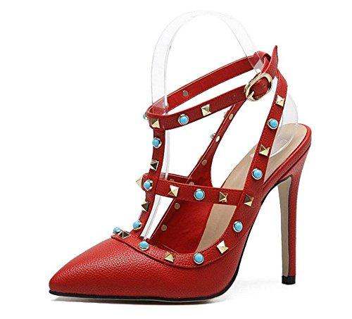 GLTER Le donne Peep Toe Ankle Strap Sandals pompe tacco a cono di Charme a punta della bocca poco profonda Rivetti gemma di colore Buckle Tacchi alti signore scarpe estive Pompe scarpette Albicocca Ro Red
