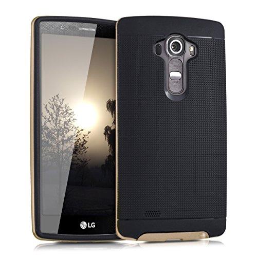 kwmobile Hybrid Outdoor Hülle für LG G4 mit Gitter Design - Dual TPU Silikon Hard Case Handy Hard Cover in Schwarz Gold