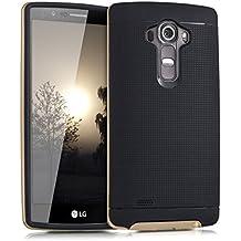 kwmobile Funda para LG G4 - Case híbrida Diseño Reja de TPU silicona - Hard Cover Diseño Reja en negro oro