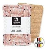 2er-Pack Spülschwämme im Set 9x13cm - aus Baumwolle in Premiumqualität - Handgearbeitet - umweltfreundliches Abwaschen - tiefe Reinigung für die Küche - haltbarer Schwamm (9 x 13 cm, altrosa)