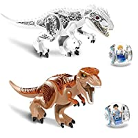 2Pcs/Sets  Jurassic Dinosaur world Figures Tyrannosaurs Rex Building Blocks Compatible With Legoed Dinosaur Toys
