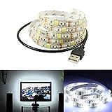 LED Fernseher Hintergrundbeleuchtung Kaltes Weiß Streifen Forepin® Wasserdicht SMD 5050 IP65 Desktop Monitore USB LED Backlight, 1M