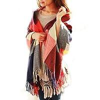 Discountfan Winter Long Soft Warm Tartan Check Scarves Wraps for women Wool Spinning Tassel Shawl Long Stole