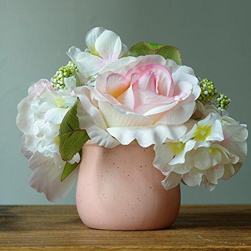 Lx.AZ.Kx La rosa di emulazione Kit dei fiori un idilliaco piccoli vasi arredate decorazione arti floreali Home Soggiorno Tavolo da pranzo ornamenti,Rosa Bianca+vaso