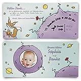Dankeskarten Geburt (30 Stück) - der kleine Prinz - Geburtskarten Danksagungskarten
