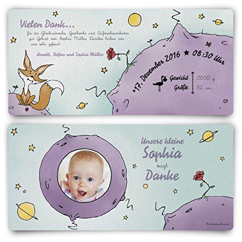 Dankeskarten Geburt (10 Stück) - der kleine Prinz - Geburtskarten Danksagungskarten