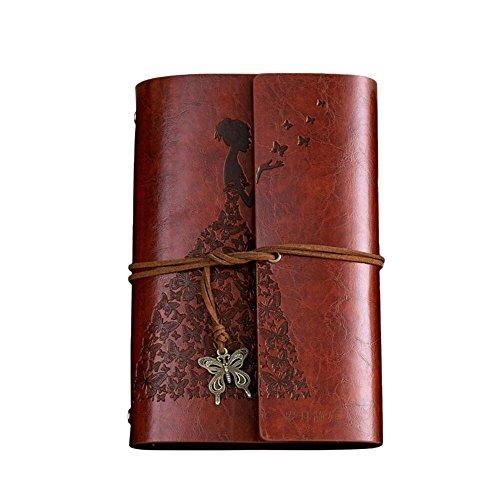 A5Leder Tagebuch, Schmetterling Girl Vintage Notizbuch, blanko, ungefüttert Reisetagebuch Einband Hochzeit Gästebuch, kalorywee Valentinstag Geburtstag Jahrestag Geschenk für Ihre Frauen Mum