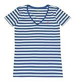 Ralph Lauren Polo V Ausschnitt Damen Shirt T-Shirt Blau-Weiss Grösse XS