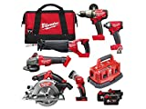 Milwaukee M18FPP6B-503B M18 Fuel 6 Piece Kit (M18FPD, M18FID, M18CSX, M18CCS, M18CAG115XPDB, M18TLED, 3 X 5.0AH Li-Ion Batteries, Multi-Charger, Bag) NEW