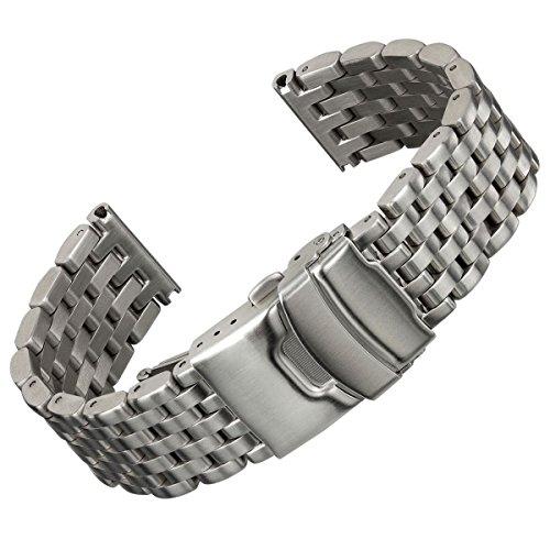 Geckota® Edelstahl Uhrenarmband 'Super Engineer' im gebürsteten Finish, ausgestattet mit einer Edelstahl Sicherheitsfaltschließe, 20mm & 22mm, Enden inklusive