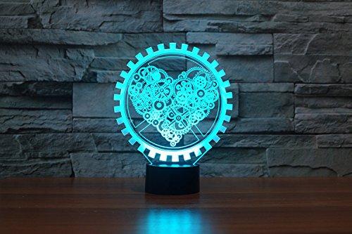 LED Nachtlicht,KINGCOO Magical 3D Visualisierung Amazing Optische Täuschung Touch Control Light 7 Farben ändern Schreibtischlampen für Kinderzimmer Home Decoration Best Geschenk (Liebe Gang) - 5