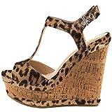 Lutalica Frauen Sexy Wildleder Extreme hohe Plattform Knöchelriemen Keilabsatz Sandalen Schuhe Leopard Größe 46 EU