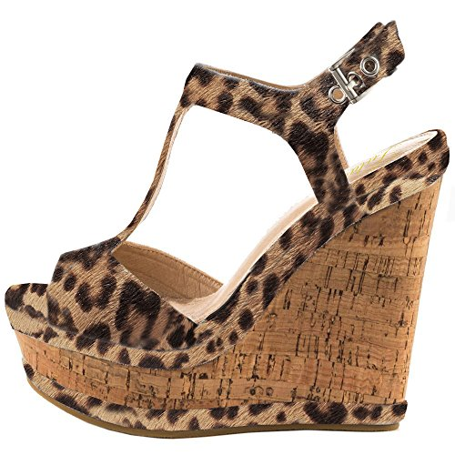 Lutalica Frauen Sexy Wildleder Extreme hohe Plattform Knöchelriemen Keilabsatz Sandalen Schuhe Leopard Größe 46 EU Ankle Strap Platform Wedge