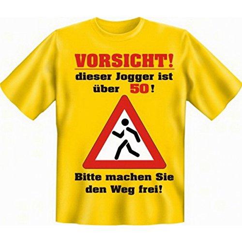 Geburtstags Fun Tshirt Vorsicht! Dieser Jogger ist über 50! Bitte machen Sie den Weg frei! Farbe gelb (T-shirt Gelben Geburtstag)