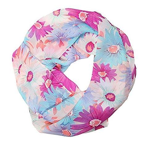 ManuMar Loop-Schal für Damen | feines Hals-Tuch mit Blumen-Motiv als perfektes Sommer-Accessoire | Schlauch-Schal in Lila Blau - Das ideale Geschenk für Frauen