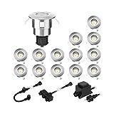 parlat LED Boden-Einbauleuchte Atria für außen Aluminium warm-weiß, je 14lm, IP65, 40mm Ø 14er Set
