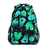 CVDGSAD Green Ghost Soul Bookbag School Student Backpack for Travel Teen Girls Boys Kid