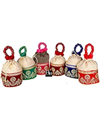 Bombay Haat Designer Jute Gift Bags/Potli Bags for Return Gifts for Menhadi, Haldi, Wedding, Sangeet (Set of 6)