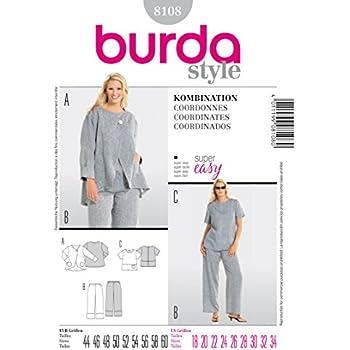 Schnittmuster Burda 8108 Plussize Damen-Kombination Tunika Jacke Hose Gr 44-60