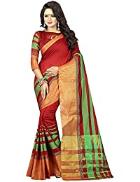 Kiranz Web Store Women's Cotton Silk Saree With Blouse Piece(AASIVARIATION) (Red Color)