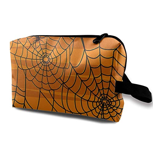 (Halloween Spider Web Pattern Small Cosmetic Bags Travel Makeup Bag Fashionable Organizer For Women Girls)