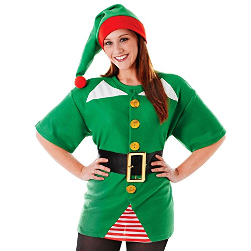 "Ladies Girls Elf Fancy Dress Costume Santas Little Helper Shirt Top Hat Tee Christmas 44"" Chest UK 10 12 14"