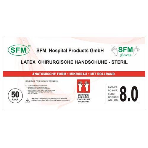 SFM ® OP Latex : 6.0, 6.5, 7.0, 7.5, 8.0, 8.5, 9.0 steril puderfrei texturiert chirurgische OP-Handschuhe Einmalhandschuhe Einweghandschuhe weiß 8.0 (50 Paare)