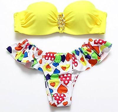 YONGYI Europa y el sello split bikini barrido del pecho y las partículas de acero, presidente de trajes de baño spa con anillo metálico mullidas volantes