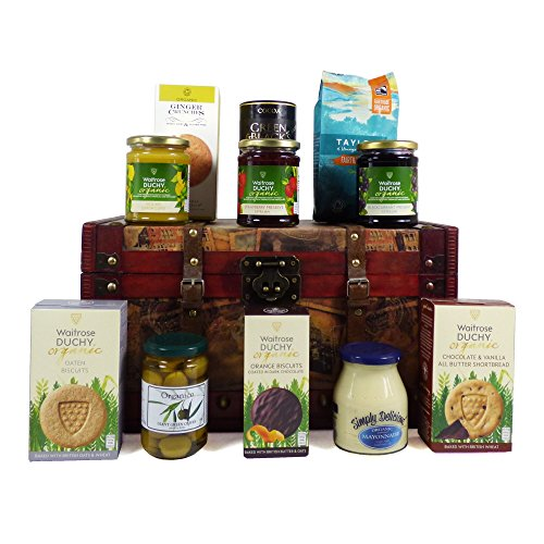 Organic Food Hamper in a Vintage Style Wooden Chest - Great Ideas for Birthday, Congratulations and Corporate Presents