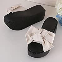 fankou Thick Slippers Beach Summer Anti-Slippery Slope to Cool The High-Heel Women's Shoes and Sandals Are,37, Light Yellow