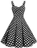 Dresstells reg; Shoulder Straps 1950s Retro Audrey Swing Pinup Rockabilly Dress Pleated Skirt Black White Dot XS
