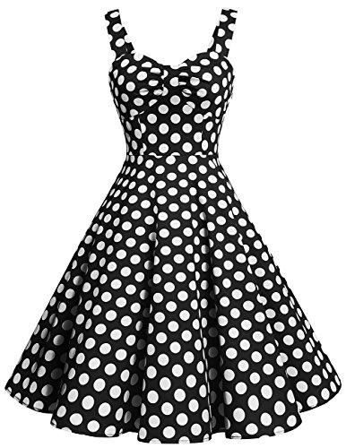Dresstells Schultergurt 1950er Retro Schwingen Pinup Rockabilly Kleid Faltenrock Black White Dot (50er Kostüme Süßes Jahre)