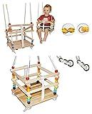 Gitterschaukel mit abnehmbaren Gurt - Babyschaukel / Kinderschaukel - leichter Einstieg ! - Schaukel aus Holz - mitwachsend & verstellbar - Holzgitterschaukel für Innen und Außen - Indoor Outdoor - verstellbare Kleinkindschaukel - Sicherheitsgurt - Holzschaukel Baby Kinder - Sicherheitsstäbe / bunte Stäbe - Holzbabyschaukel - Garten oder im Haus
