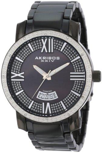 Akribos XXIV Men's AK506BK Diamond Swiss Quartz Bracelet Watch