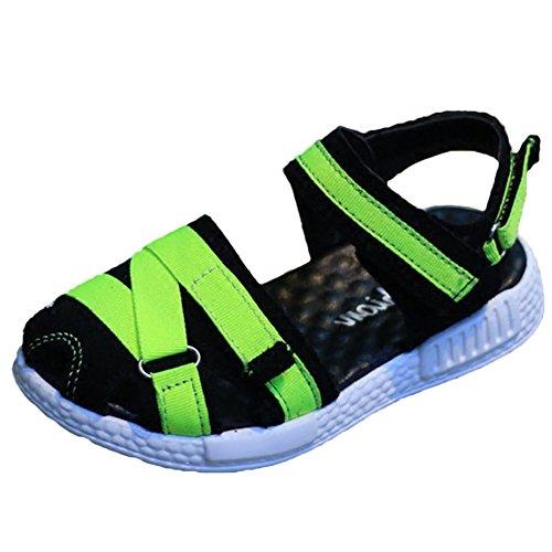 Scothen Plage sandales d'été fermée chaussures de marche velcro ultra-léger respirant chaussures plates unisexe Enfants Garçons Filles chaussures enfants Sport Outdoor Sandales Chaussons Vert
