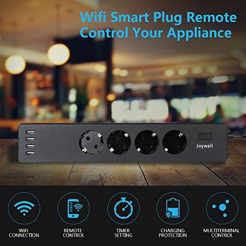 Wlan Steckdosenleiste 4-Fach mit 4 USB Lade Port, Wifi Smart Steckdose, mit App-Steuerung IOS und Android | einfache Bedienung | Voice Control mit Alexa und Google Assistant | von Joywell (Schwarz)