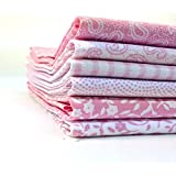 The Craft Cotton 18 x 22-Inch 6-Piece Classic Fat Quarter Printed Fabric Bundle, Pink/White