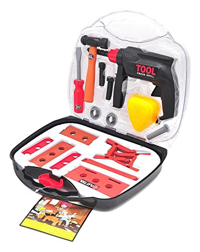 The Little Treasures Cute Carpentry tool set with pretend play cordless power drill and carrying case great for...