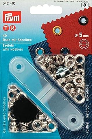 Prym Ringösen, 5mm, plus Unterlegscheiben, silberfarben, 40Stück (Scheibe Gürtel)