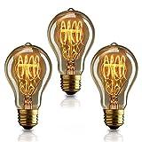 KJLARS 3 X Vintage Edison Glühbirne Glühlampe E27 40W A19 Birne Für Retro Nostalgie Beliebte Dekoratives Leuchtmittel