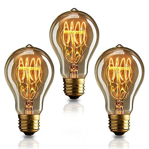 KJLARS 3 X Vintage Edison Glühbirne Glühlampe E27 40W A19 Birne Für Retro Nostalgie Beliebte Dekoratives Leuchtmittel - A19 Birne