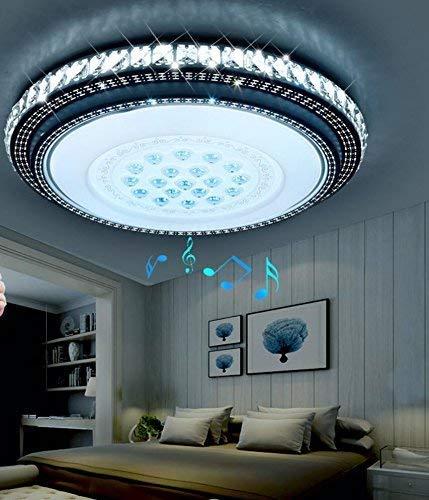 Intelligente Bluetooth Musik Deckenleuchte rund crystal Wohnzimmer Licht Schlafzimmer restaurant Beleuchtung, Starlight 50 cm 36 Watt warm-weißes Licht + Fernbedienung LED Crystal Bluetooth
